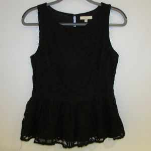 Black lace peplum tank top